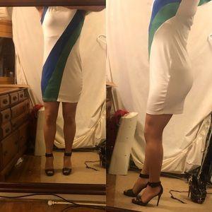 Jonathan Martin Mindi dress white/blue/green